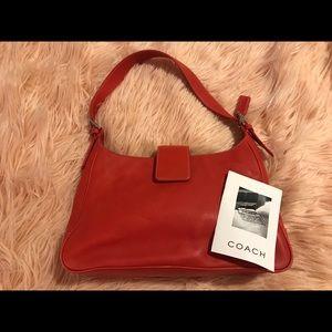 Coach Hampton Red Leather Hobo Shoulder Handbag